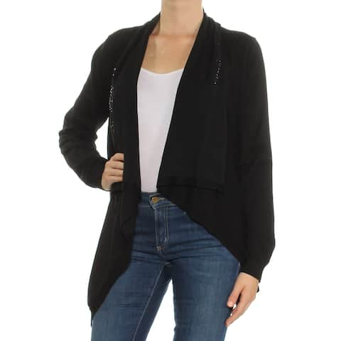 DKNY Womens Black Sequined Long Sleeve Open Cardigan Sweater Size: M