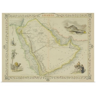 """""""Antique map of Arabia with vignettes"""" Poster Print"""