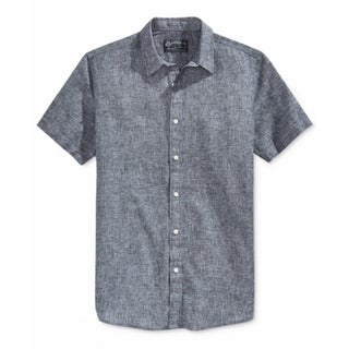 American Rag NEW Navy Blue Mens Size Large L Chambray Button Down Shirt