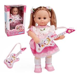 Costway 16'' Girl Doll Pretend Play Guitar Lifelike Singing 3 Songs Voice Control