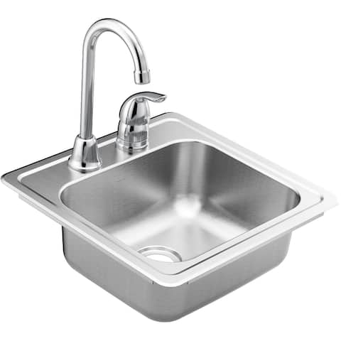 "Moen KGS2045622BQ 2000 Series 15"" Drop In Single Basin Stainless Steel - Stainless Steel"