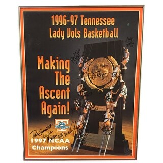 Pat Summitt team signed 199697 Tennessee Lady Vols NCAA National Champs 18x235 Poster Framed 15 sig