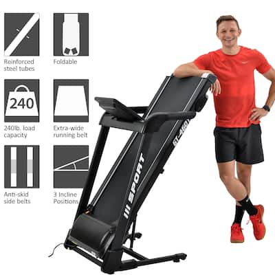 2.25HP Treadmill Home Gym, Diamond Pattern Silent Belt, Soft Dropping Built in Speaker