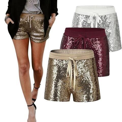New Female Elastic Waist Sequined Tie Nightclub Shorts