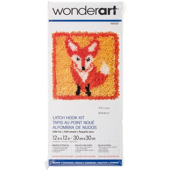 """Wonderart Latch Hook Kit 12""""X12""""-Little Fox"""