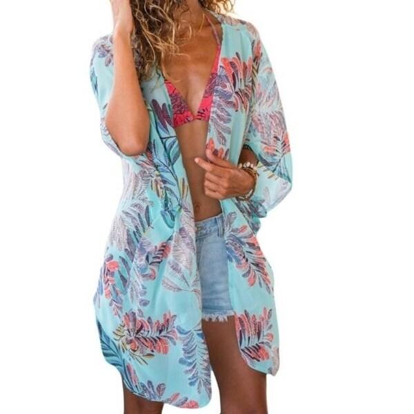 824b2eb260b0a Womens Sheer Chiffon Blouse Loose Tops Cardigan Kimono Beach Cover up