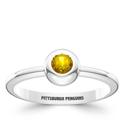 Pittsburgh Penguins Engraved Sterling Silver Black Onyx Ring