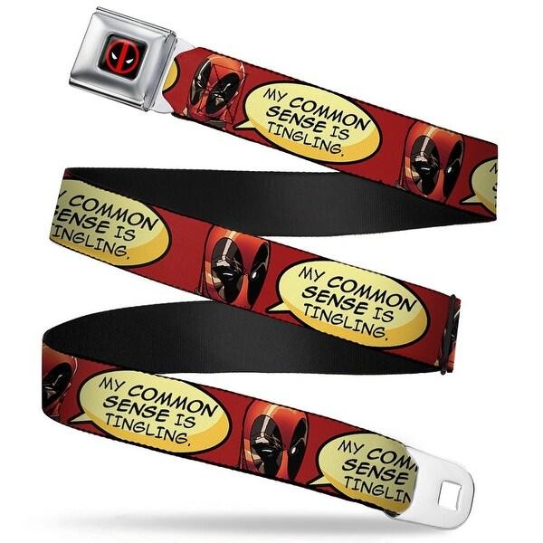Marvel Universe Deadpool Logo Full Color Black Red White Deadpool Quote Seatbelt Belt