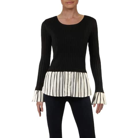 Lucy Paris Womens Sweater Ribbed Knit Layered - Black