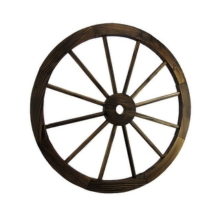 Wooden Wagon Wheel Decorative Wall Hanging Room Decor - 24 X 24 X 1 inches
