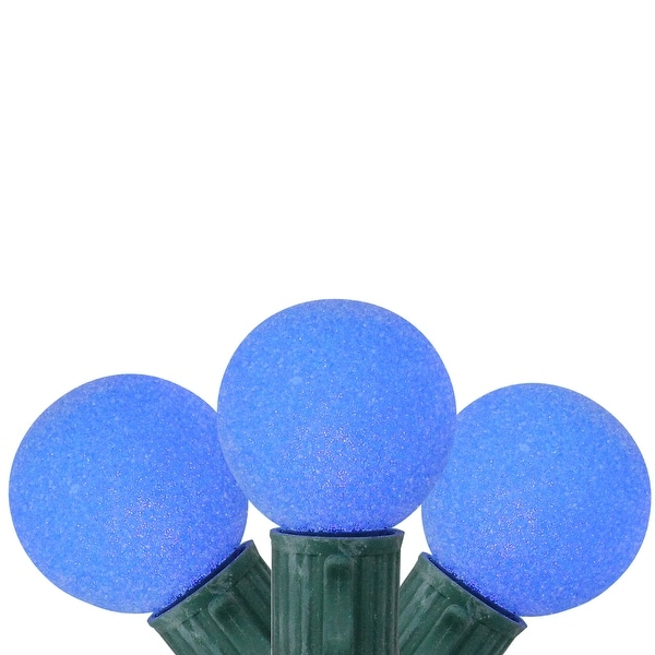 Set of 10 Battery Operated Sugared Blue LED G30 Christmas Lights - Green Wire