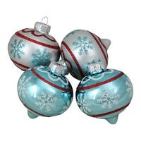 "4-Piece Blue and Silver Onion Shaped Glass Christmas Ornament Set 3.5"" (90mm)"