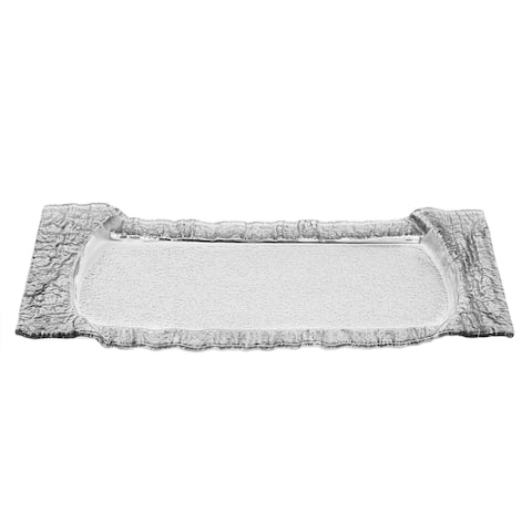 Large Rectangular Glass Tray with Silver Embossed Border