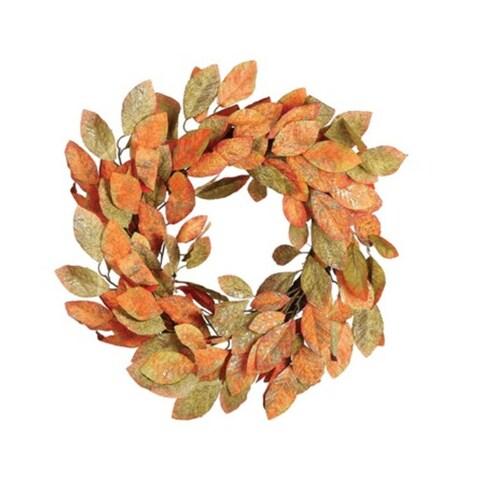 """24"""" Orange, Green and Gold Autumn Harvest Thanksgiving Glitter Leaf Wreath - Orange"""