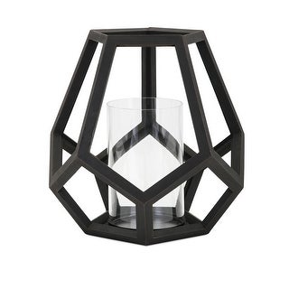 IMAX Home 16204  Ubon Wood Pillar Lantern Candle Holder - Black