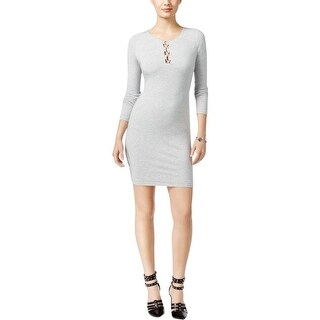 Guess Womens Addison Bodycon Dress Lace-Up Knee-Length