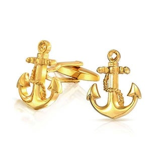 Bling Jewelry Gold Plated Mens Vintage Nautical Anchor Cufflinks Set