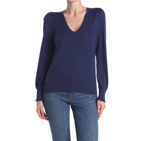REBECCA TAYLOR Womens Navy Long Sleeve V Neck Sweater Size S