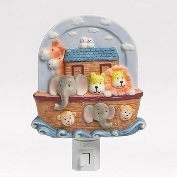 """5.5"""" Noah's Ark Children's Bedroom Religious Porcelain Wall Night Light - brown"""