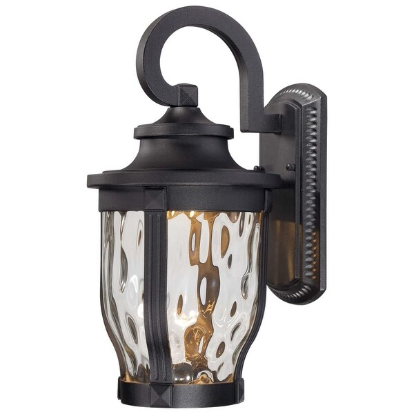 "The Great Outdoors 8762-66-L 1-Light 16.25"" Height LED Outdoor Wall Sconce from the Merrimack Collection - Black - N/A"