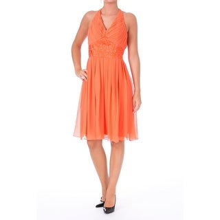 Sue Wong Womens Chiffon Embroidered Cocktail Dress - 6
