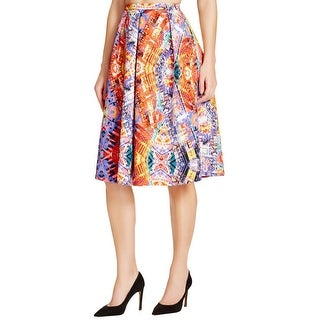 Aqua Womens Pleated Skirt Matte Jersey Printed
