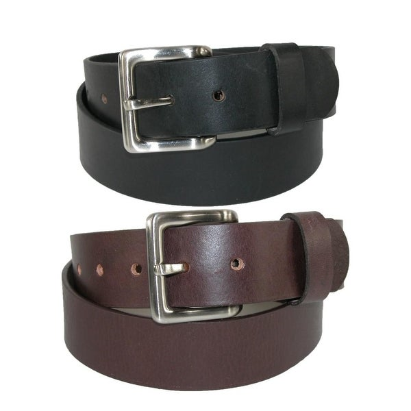 Toneka Men's Leather Bridle Belt with Removable Buckle (Pack of 2)