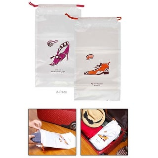 2 Pack His and Hers Waterproof Drawstring Shoe Bag for Travel, Luggage, Vacation - White