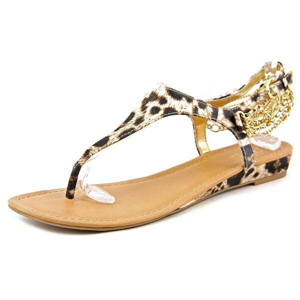 Thalia Sodi Lizette Women Open Toe Canvas Brown Thong Sandal