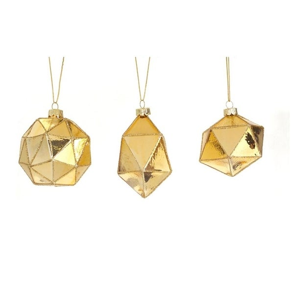 Club Pack of 24 Gold Geometric Shaped Ball, Drop and Onion Christmas Glass Ornament 4""