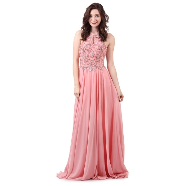 Chiffon Beaded Halter Gown