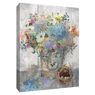 """PTM Images 9-148513  PTM Canvas Collection 10"""" x 8"""" - """"Bucket of Flowers I"""" Giclee Flowers Art Print on Canvas"""