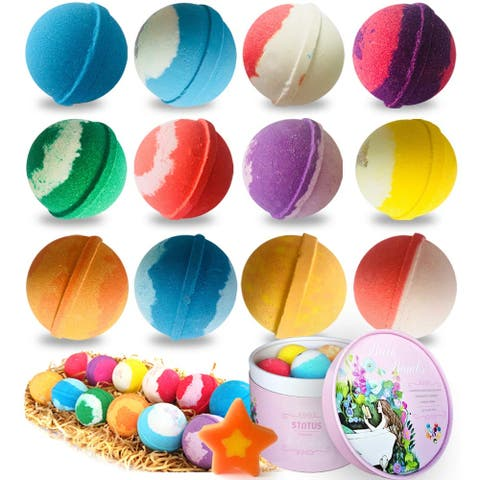 Handmade Organic Spa Bubble Bombs Set of 12 Fizzies with Relaxation - Multi-Color