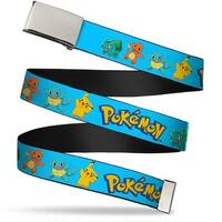 Blank Chrome Buckle Pok�mon Kanto Starter Pok�mon & Pikachu Blue Web Belt