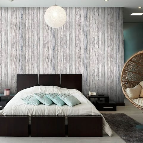 Blue and Green Faux Wood Peel and Stick Removable Wallpaper 1551