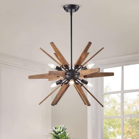 Bernice Antique Black Sputnik Natural Wood 6-light Chandelier