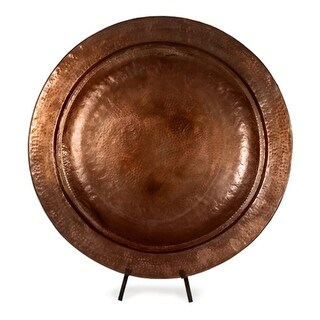 "27"" Decorative Copper Plated Iron Charger with Stand"