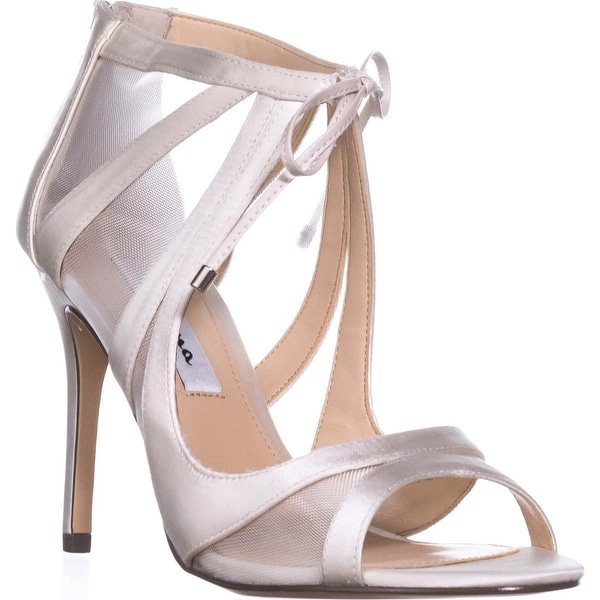 Nina Cherie Strappy Mesh Tie Peep Toe Dress Sandals, Ivory - 9 us