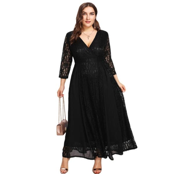 Shop Women\'s Plus Size High Waist Lace Overlay Evening Maxi ...