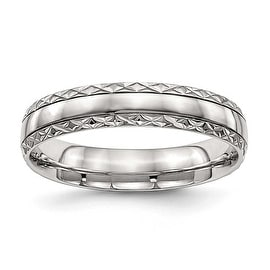 Stainless Steel Polished Grooved Criss Cross Design Ring (5 mm) - Sizes 6 - 13