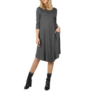 Link to NE PEOPLE Womens Comfy Stretch 3/4 Sleeve Knee Length Flare Midi Dress Similar Items in Dresses