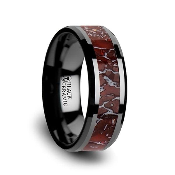 Triassic Red Dinosaur Bone Inlaid Black Ceramic Beveled Edged Ring 4mm