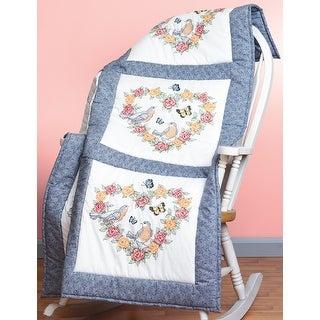 """Stamped Cross Stitch Quilt Blocks 18""""X18"""" 6/Pkg-Spring Heart"""