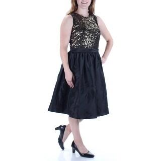 CALVIN KLEIN $179 Womens 1045 Gold Sequined Sleeveless A-Line Dress 8 B+B