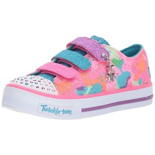 Skechers Kids Kids' Shuffles-Lookin Lovely Sneaker,Neon Pink/Multi,1.5 M Us Little Kid