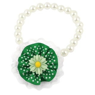 Unique Bargains Lace Accent Pet Dog Plastic Beads Pearls Stretchy Collar Necklace White Green S
