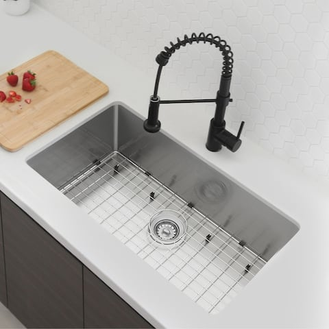 """31""""L x 18""""W Stainless Steel Single Basin Undermount Kitchen Sink with Grid and Strainer"""