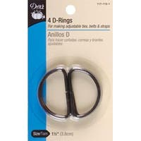 "Black - Metal ""D"" Rings 1-1/2"" 4/Pkg"