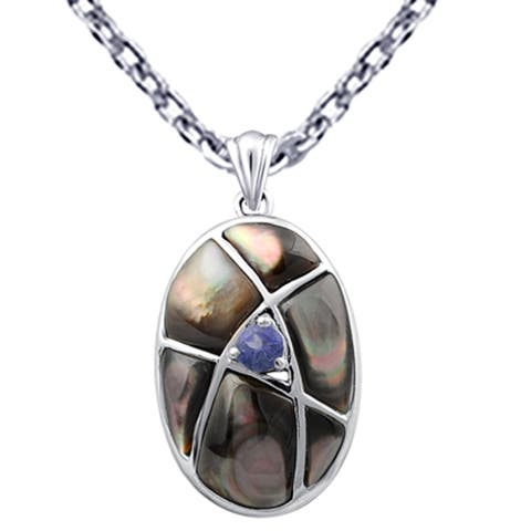 Mother Of Pearl, Iolite Sterling Silver Fancy Chain Pendant by Orchid Jewelry