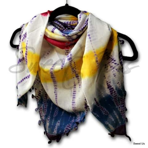Cotton Scarfs for Women Soft Sheer Summer Tie Dye Scarf Bandana Red Purple Green Yellow Square Shawl Stole Wrap - 42 x 42 inches